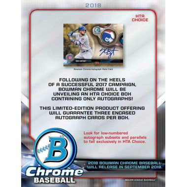 2018 Bowman Chrome Baseball HTA CHOICE FACTORY SEALED 12-Box Case Random Team