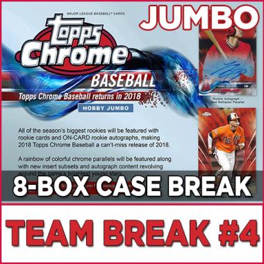 2018 Topps Chrome Baseball JUMBO HTA (Choose Team - Case Break #4) Baseball